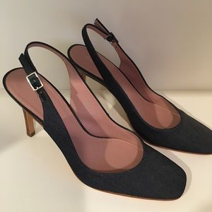 Calvin Klein slingback denim shoes. Size 9.